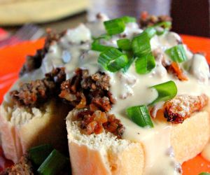 Open Faced Breakfast Sandwich with Cheese Sauce