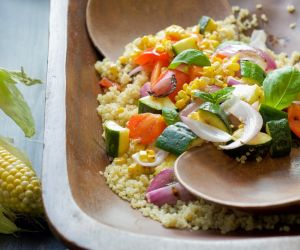 Grilled Summer Vegatable & Quinoa Salad with Lemon Basil Dressing
