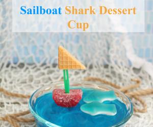 """Jello """"Ocean"""" Sailboat Shark Dessert Cup"""