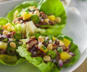 Spicy Pineapple BBQ Pork Lettuce Wraps
