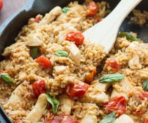 One Pot Caprese Chicken and Rice