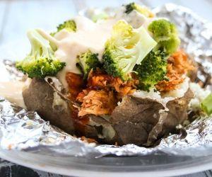 Cheesy Pulled Pork & Broccoli Crockpot Baked Potatoes