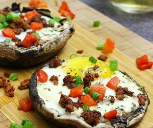 Paleo Stuffed Baked Eggs Portobello Mushrooms