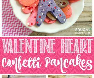 Valentine Heart Confetti Pancakes