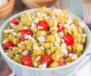 Quinoa and Chickpea Pesto Salad