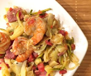 Shrimp, Artichokes and Tomatoes with Zoodles