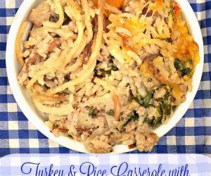 Turkey & Rice Casserole with Fresh Mushrooms, Onions & Cheese