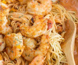 Shrimp Pasta in Spicy Tomato Cream Sauce
