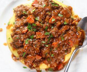 Easy Parmesan Polenta Bolognese