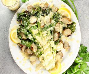 Grilled Romaine Caesar Salad with Garlic Chicken Sausage