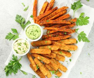 Fish Sticks with BBQ Sweet Potato Fries & Avocado Ranch