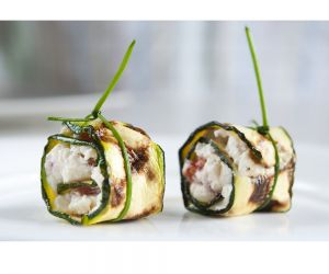 Zucchini stuffed with Savory Tofu Spread
