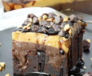Peanut Butter Chocolate Poke Cake