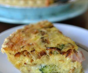 Caramelized Onion Ham Broccoli Quiche