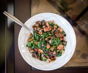 Keto Spinach Mushroom Bacon Saute Recipe