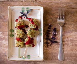 Spinach Basil Chicken Meatballs Recipe With Plum Balsamic Sauce [AIP, Pa