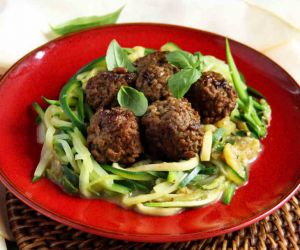 AIP Crockpot Spaghetti and Pesto Meatballs Recipe