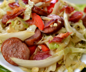 Cabbage Stir Fry with Bacon and Sausage