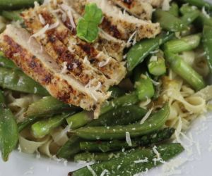 Chicken Pasta Bowl with Asparagus and Sugar-pod Peas.