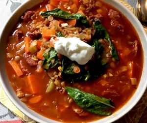Fullblood Wagyu Kielbasa and Lentil Soup