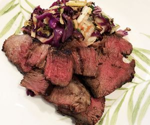 Sweet & Spicy Wagyu Beef Roast with Grilled Asian Slaw