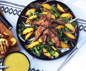 Grilled Wagyu Beef Top Round Steak and Peaches Salad