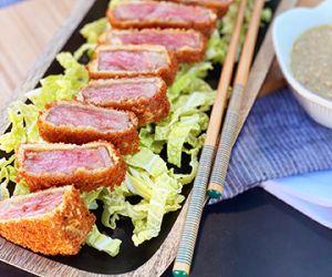 Gyukatsu with MiyaGyukatsu wzakigyu Wagyu Strip and a Miso Dipping Sauce