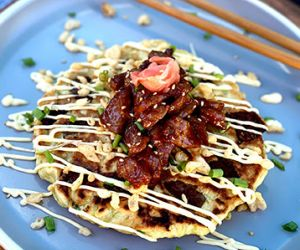 Okonomiyaki with Miyazakigyu Wagyu Beef Cubes