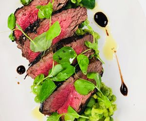 Balsamic Marinated Fullblood Wagyu Filet with Spring Pea Risotto