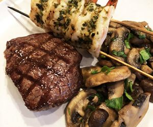 Grilled Surf and Turf with Mushroom Saute