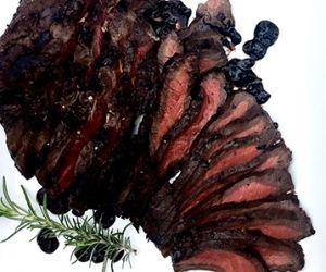 Grilled Wagyu Beef Flat Iron Steak with Yukon Gold Hasselback Potatoes