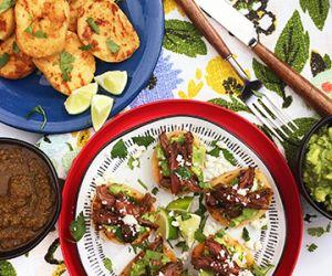 Fire Roasted Salsa Wagyu Skirt Steak on Cheesy Arepas