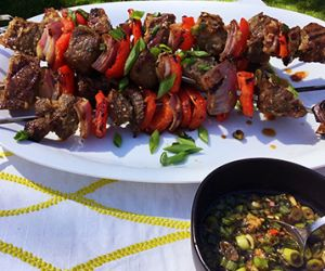 Grilled Wagyu Beef Kabobs with Coconut Lemongrass Marinade