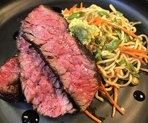 Shichimi Togarashi Wagyu Bavette Steak & Sesame Ramen Noodle Salad
