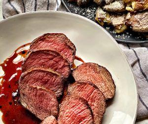 Whiskey-Maple Glazed Fullblood Wagyu Steak with Smashed Potatoes