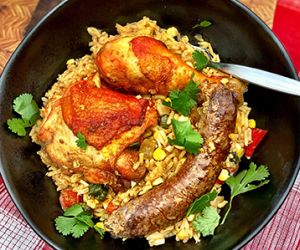 Arroz Con Pollo with Wagyu Beef Chorizo