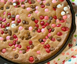 Valentine's Day Chocolate Chip Skillet Cookie