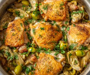 Braised Chicken Thighs with Fennel, Artichoke, and Olives
