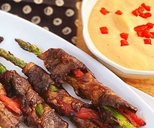 Wagyu Beef-Wrapped Asparagus with Roasted Red Pepper Aioli