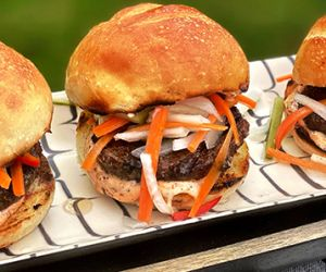 Grilled Bánh Mi Wagyu Beef Sliders with Pickled Vegetables