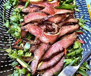 Grilled Wagyu Flank Steak with Cilantro-Scallion Salad