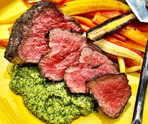 Wagyu Filet Mignon with Roasted Carrots and Carrot Top Pesto